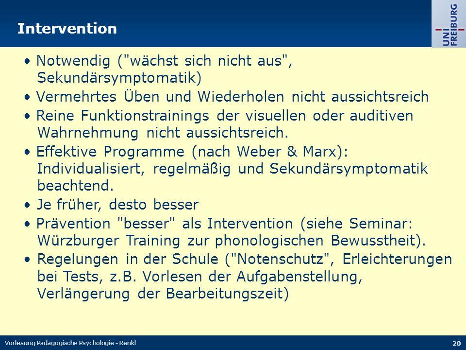 Vorlesung Pädagogische Psychologie - Renkl 20 Intervention Notwendig (