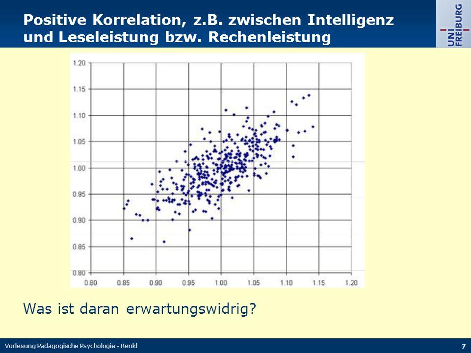Vorlesung Pädagogische Psychologie - Renkl 7 Positive Korrelation, z.B. zwischen Intelligenz und Leseleistung bzw. Rechenleistung Was ist daran erwart