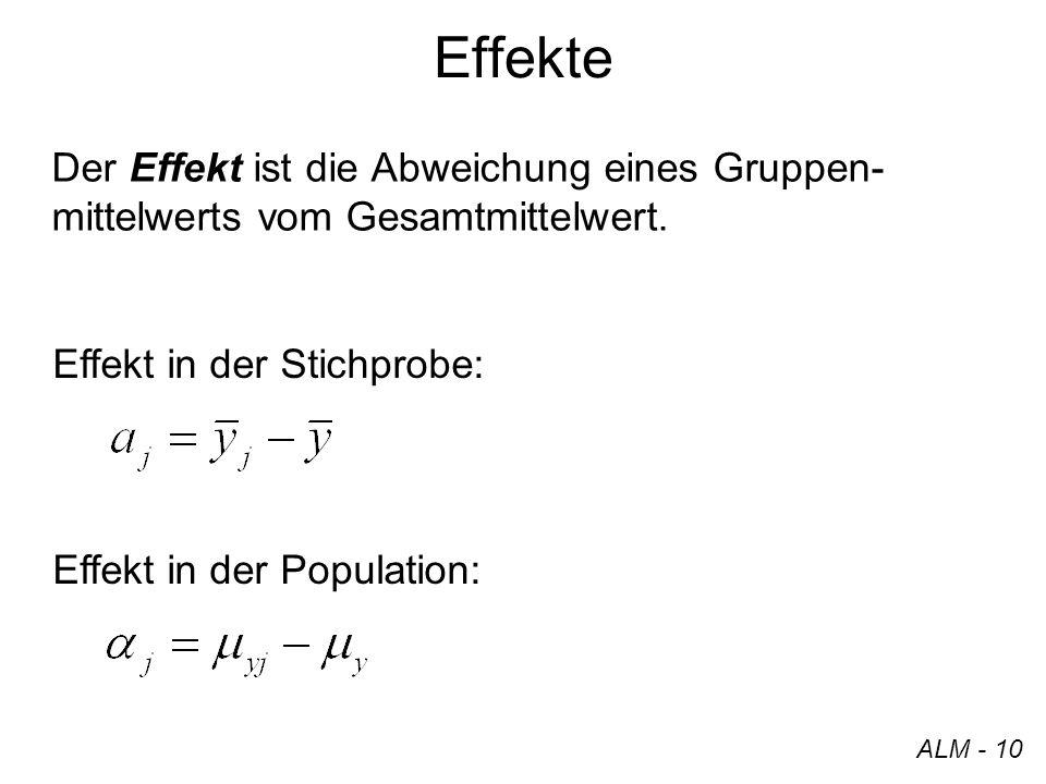Effekte Der Effekt ist die Abweichung eines Gruppen- mittelwerts vom Gesamtmittelwert. ALM - 10 Effekt in der Stichprobe: Effekt in der Population: