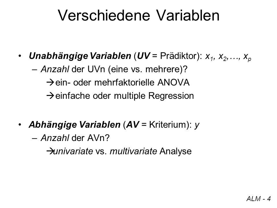 Verschiedene Variablen Unabhängige Variablen (UV = Prädiktor): x 1, x 2,…, x p –Anzahl der UVn (eine vs. mehrere)? ein- oder mehrfaktorielle ANOVA ein
