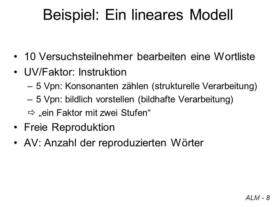 Beispiel: Ein lineares Modell 10 Versuchsteilnehmer bearbeiten eine Wortliste UV/Faktor: Instruktion –5 Vpn: Konsonanten zählen (strukturelle Verarbei