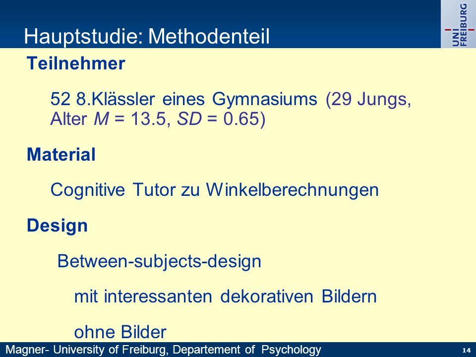 14 Hauptstudie: Methodenteil Teilnehmer 52 8.Klässler eines Gymnasiums (29 Jungs, Alter M = 13.5, SD = 0.65) Material Cognitive Tutor zu Winkelberechn
