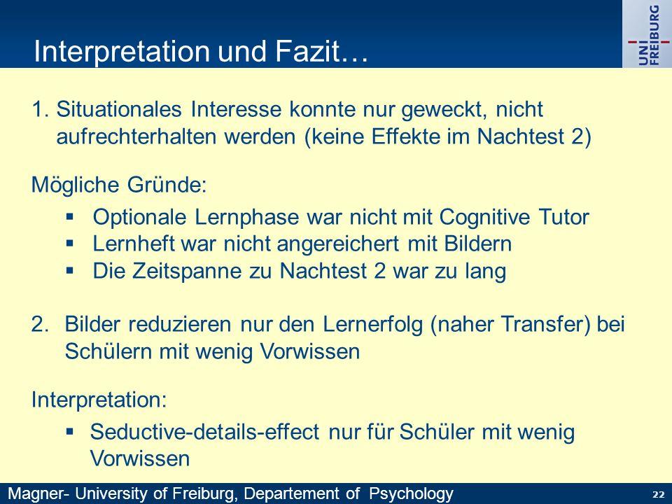22 Interpretation und Fazit… 1.Situationales Interesse konnte nur geweckt, nicht aufrechterhalten werden (keine Effekte im Nachtest 2) Mögliche Gründe
