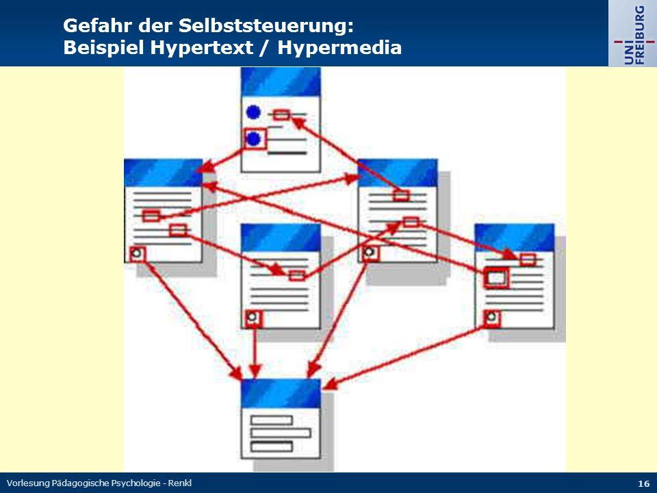 Vorlesung Pädagogische Psychologie - Renkl 16 Gefahr der Selbststeuerung: Beispiel Hypertext / Hypermedia