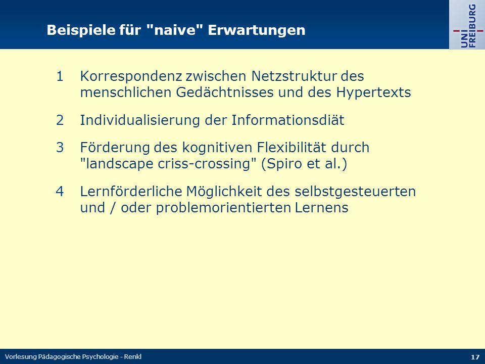 Vorlesung Pädagogische Psychologie - Renkl 17 Beispiele für