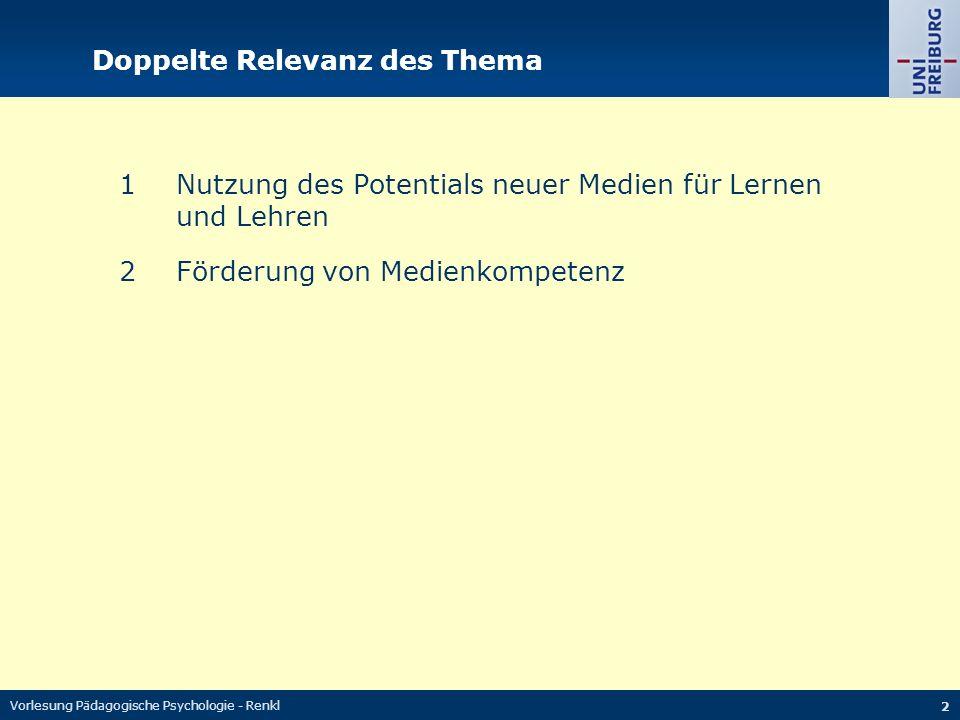 Vorlesung Pädagogische Psychologie - Renkl 2 Doppelte Relevanz des Thema 1Nutzung des Potentials neuer Medien für Lernen und Lehren 2Förderung von Med