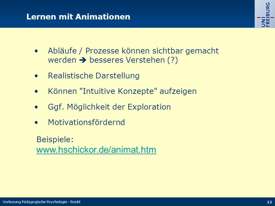 Vorlesung Pädagogische Psychologie - Renkl 22 Lernen mit Animationen Abläufe / Prozesse können sichtbar gemacht werden besseres Verstehen (?) Realisti
