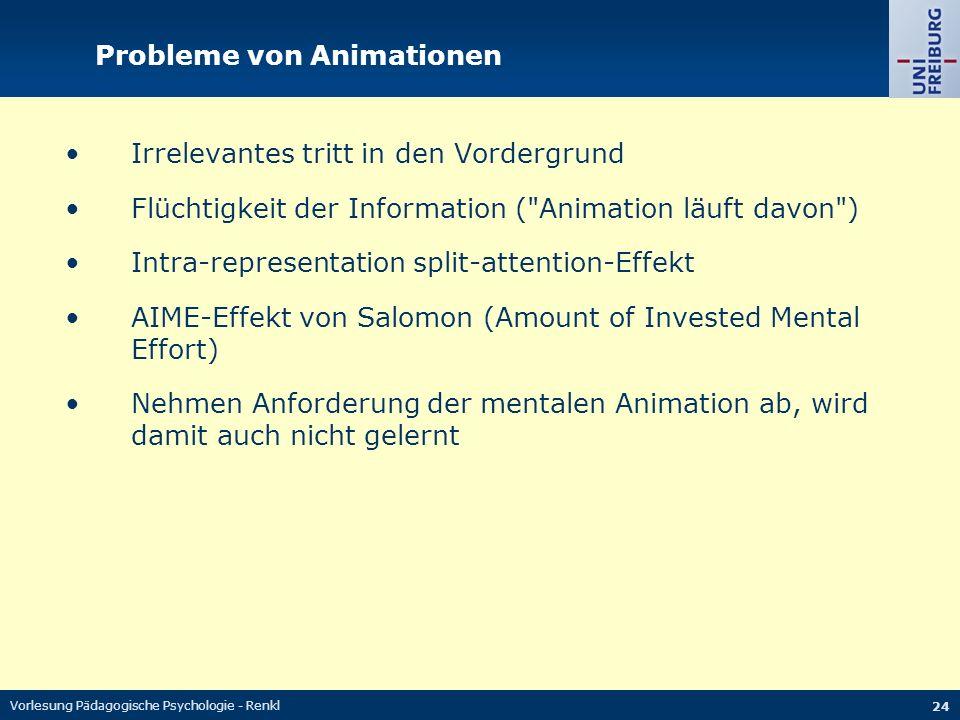 Vorlesung Pädagogische Psychologie - Renkl 24 Probleme von Animationen Irrelevantes tritt in den Vordergrund Flüchtigkeit der Information (