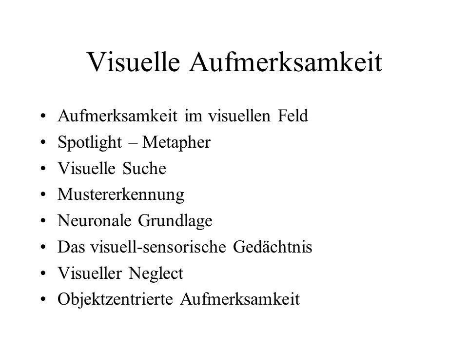 Visuelle Aufmerksamkeit Aufmerksamkeit im visuellen Feld Spotlight – Metapher Visuelle Suche Mustererkennung Neuronale Grundlage Das visuell-sensorisc