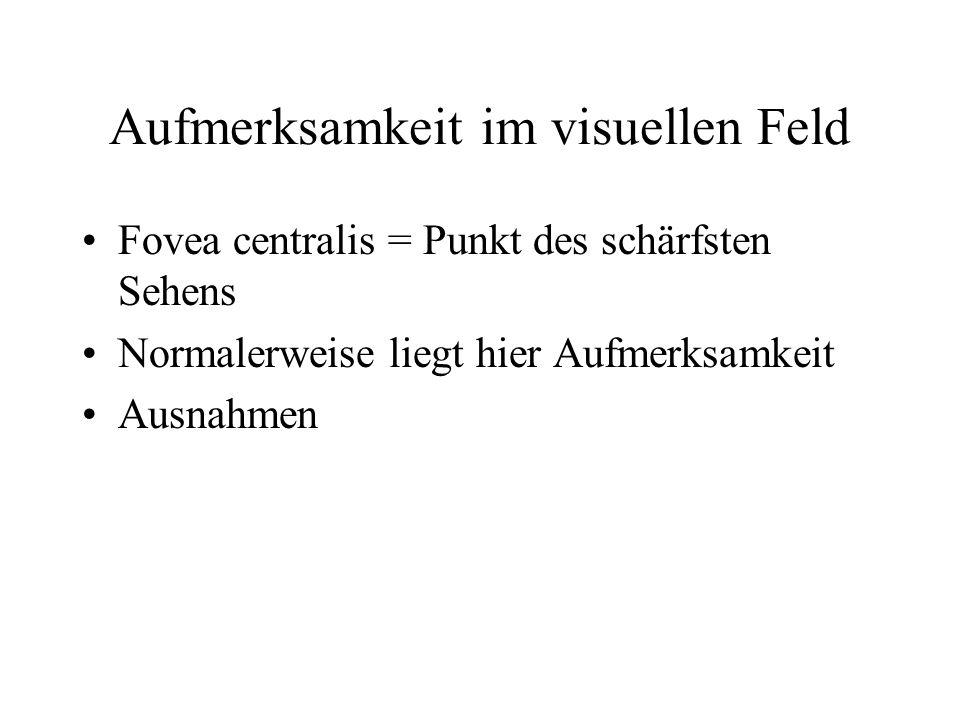 Aufmerksamkeit im visuellen Feld Fovea centralis = Punkt des schärfsten Sehens Normalerweise liegt hier Aufmerksamkeit Ausnahmen