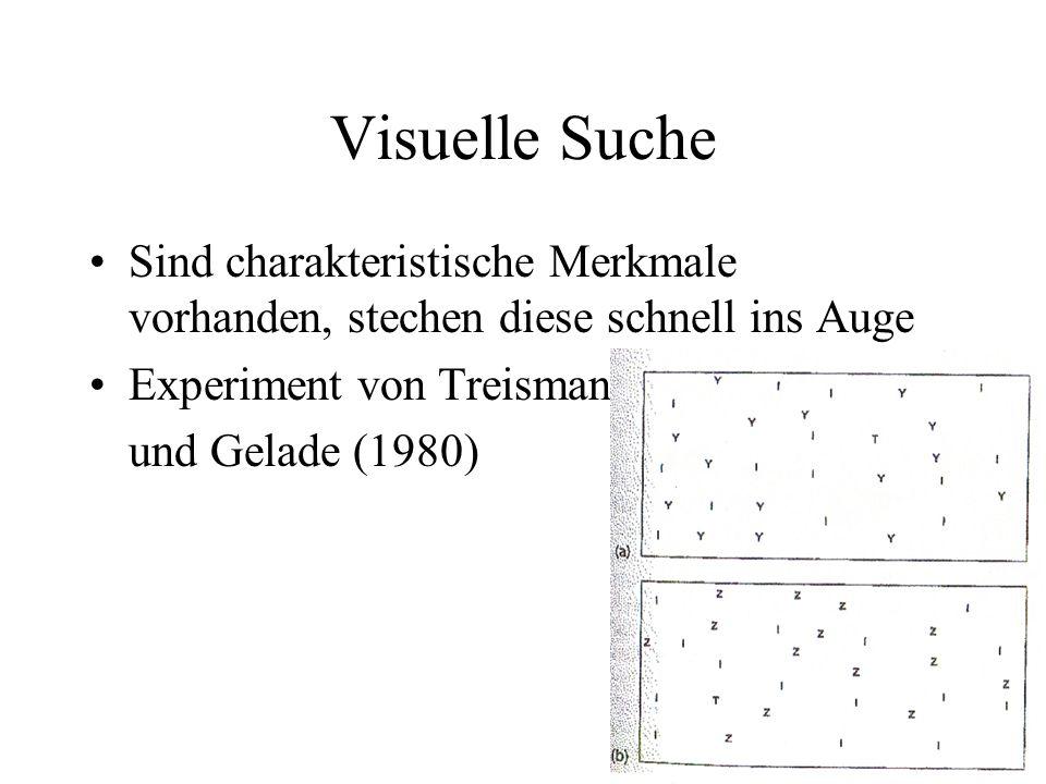 Visuelle Suche Sind charakteristische Merkmale vorhanden, stechen diese schnell ins Auge Experiment von Treisman und Gelade (1980)