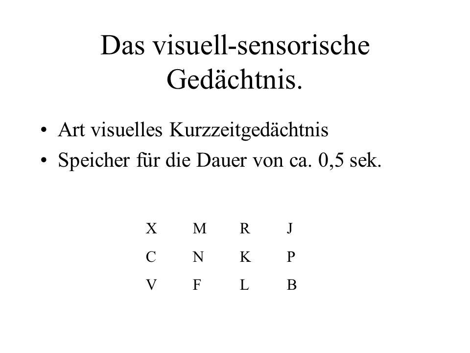 Das visuell-sensorische Gedächtnis. Art visuelles Kurzzeitgedächtnis Speicher für die Dauer von ca. 0,5 sek. XMRJCNKPVFLBXMRJCNKPVFLB