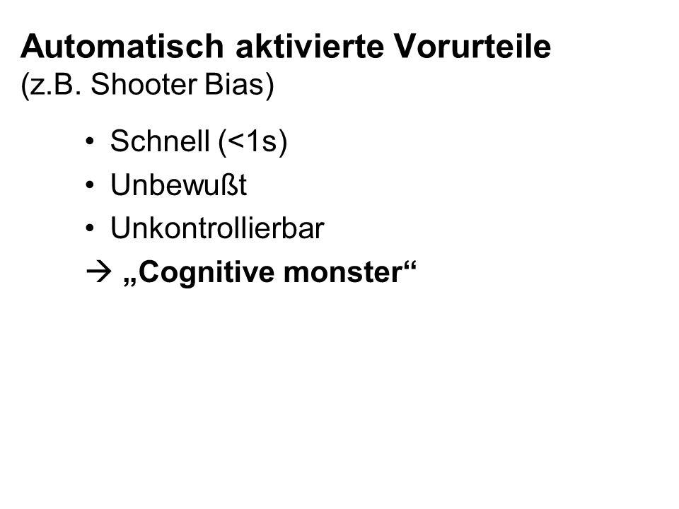 Automatisch aktivierte Vorurteile (z.B. Shooter Bias) Schnell (<1s) Unbewußt Unkontrollierbar Cognitive monster