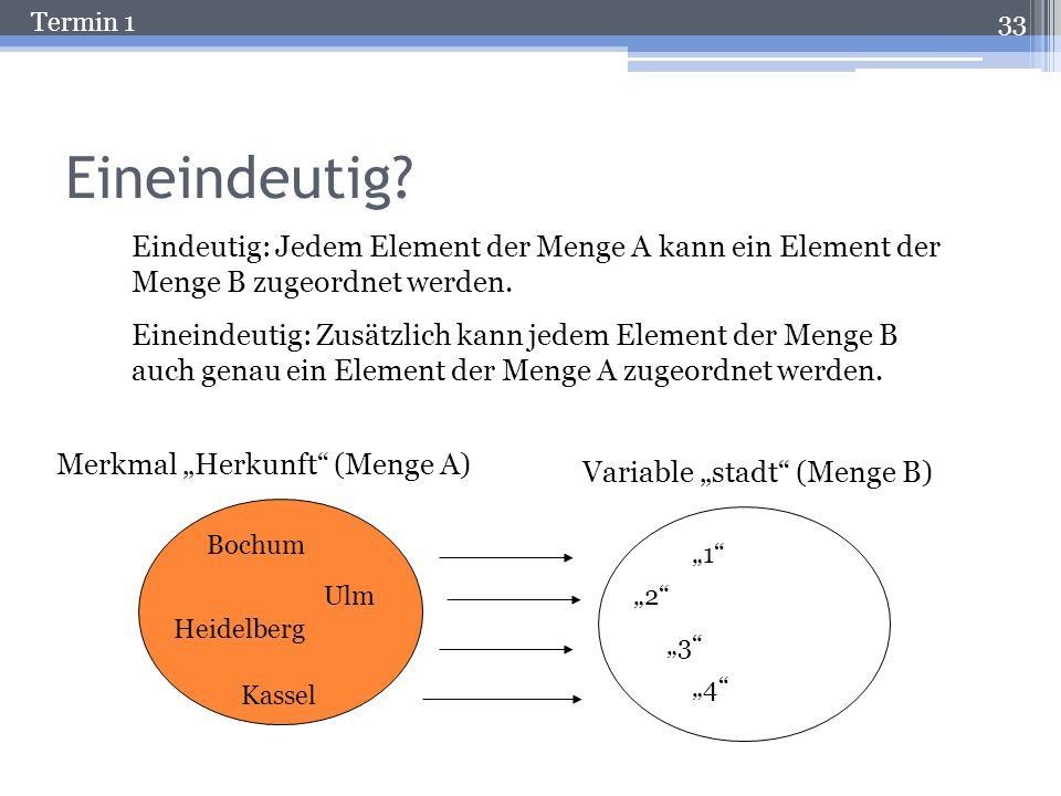 Termin 1 Die Nominalskala Aussagekraft von Variablenwerten: Information über Gleichheit / Verschiedenheit der Merkmalsausprägung (Keine Aussagen zu gr
