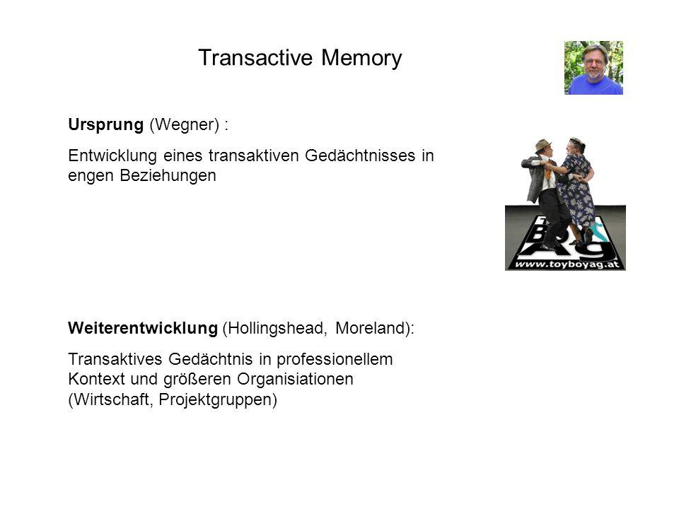 Transactive Memory Ursprung (Wegner) : Entwicklung eines transaktiven Gedächtnisses in engen Beziehungen Weiterentwicklung (Hollingshead, Moreland): T
