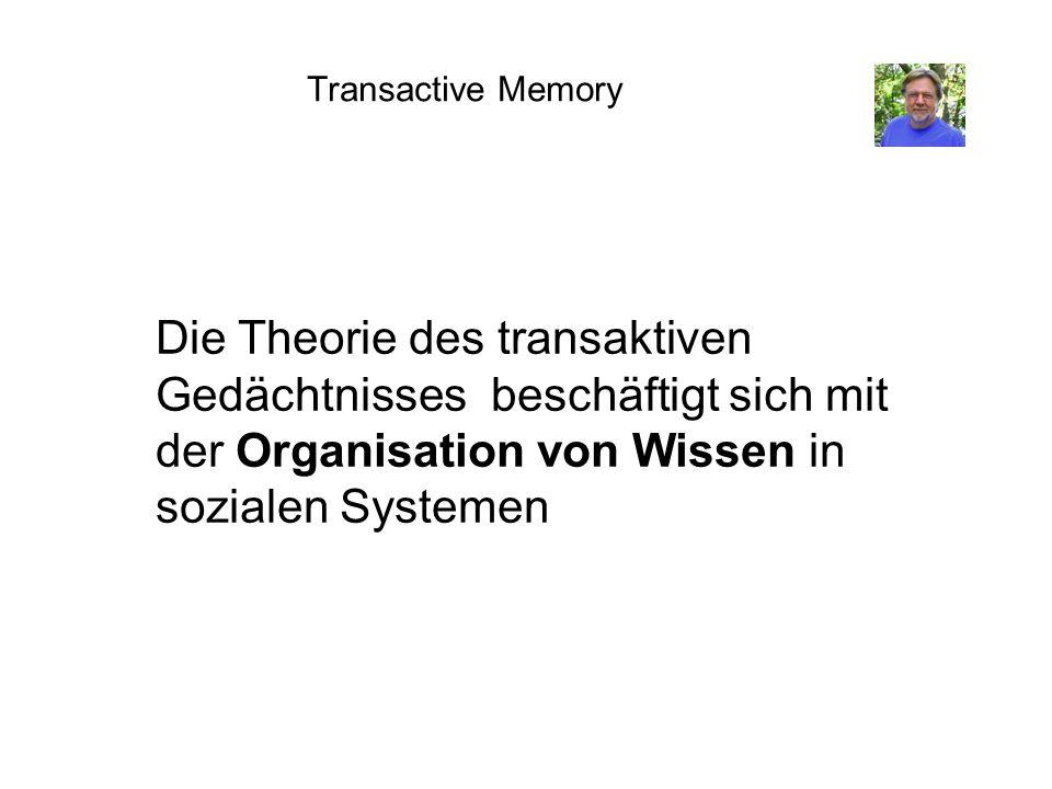 Transactive Memory Die Theorie des transaktiven Gedächtnisses beschäftigt sich mit der Organisation von Wissen in sozialen Systemen