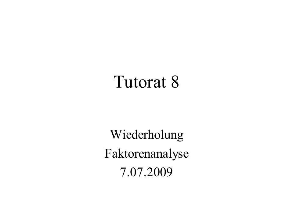 Tutorat 8 Wiederholung Faktorenanalyse 7.07.2009