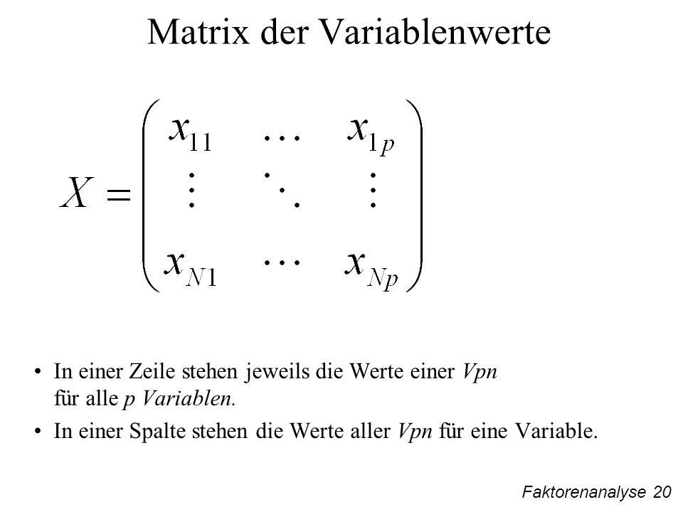Faktorenanalyse 20 Matrix der Variablenwerte In einer Zeile stehen jeweils die Werte einer Vpn für alle p Variablen.