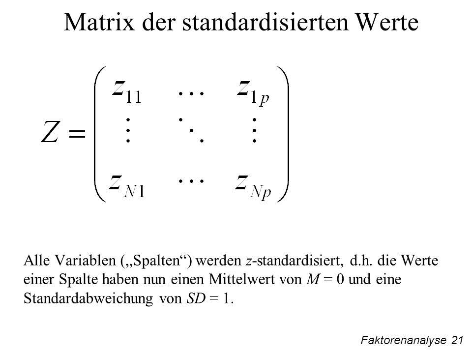 Faktorenanalyse 21 Matrix der standardisierten Werte Alle Variablen (Spalten) werden z-standardisiert, d.h.