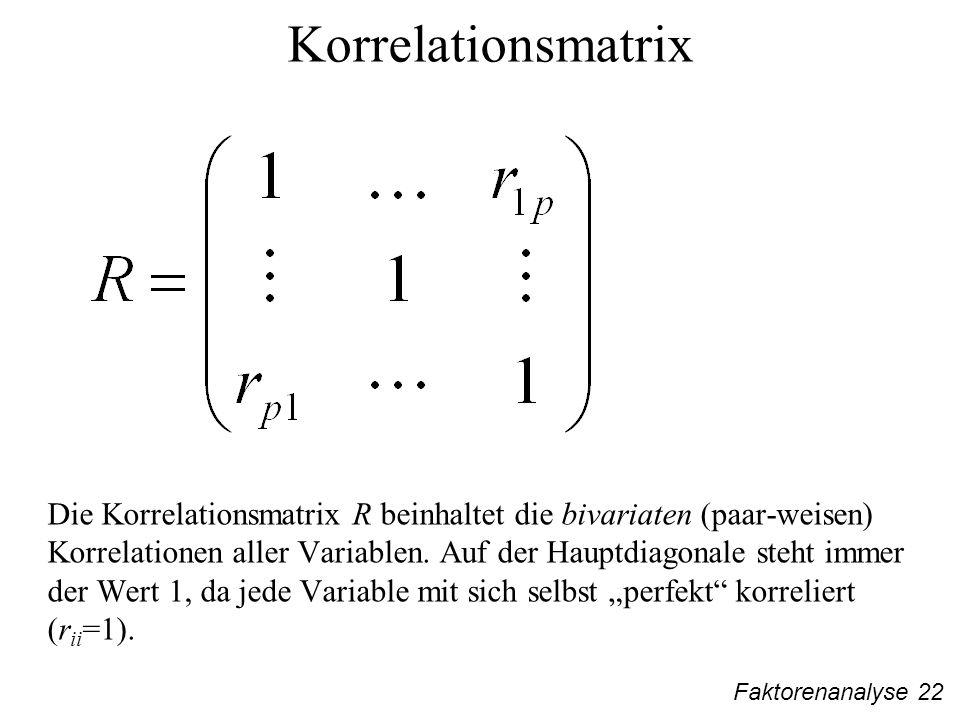 Faktorenanalyse 22 Korrelationsmatrix Die Korrelationsmatrix R beinhaltet die bivariaten (paar-weisen) Korrelationen aller Variablen.