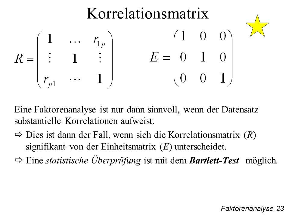 Faktorenanalyse 23 Korrelationsmatrix Eine Faktorenanalyse ist nur dann sinnvoll, wenn der Datensatz substantielle Korrelationen aufweist.