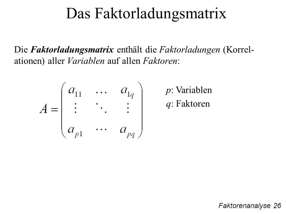 Faktorenanalyse 26 Das Faktorladungsmatrix Die Faktorladungsmatrix enthält die Faktorladungen (Korrel- ationen) aller Variablen auf allen Faktoren: p: Variablen q: Faktoren