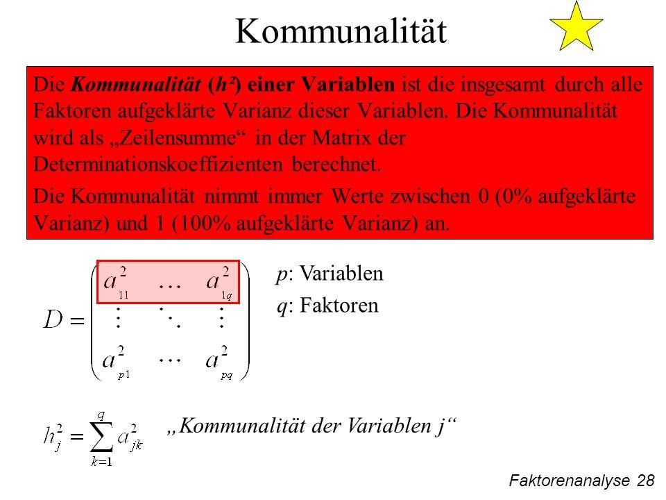 Faktorenanalyse 28 Kommunalität Die Kommunalität (h²) einer Variablen ist die insgesamt durch alle Faktoren aufgeklärte Varianz dieser Variablen.