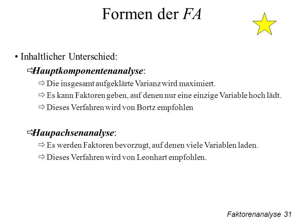 Faktorenanalyse 31 Formen der FA Inhaltlicher Unterschied: Hauptkomponentenanalyse: Die insgesamt aufgeklärte Varianz wird maximiert.