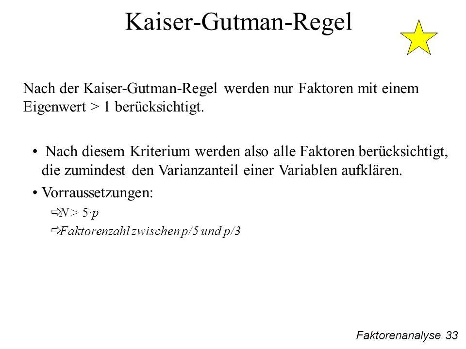 Faktorenanalyse 33 Kaiser-Gutman-Regel Nach der Kaiser-Gutman-Regel werden nur Faktoren mit einem Eigenwert > 1 berücksichtigt.