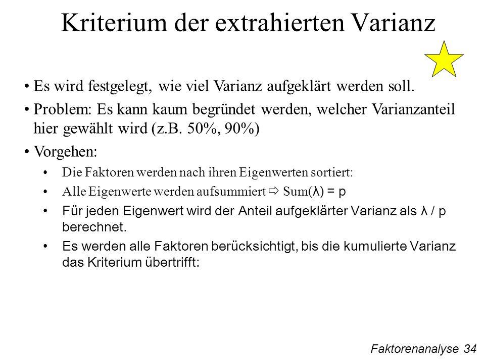 Faktorenanalyse 34 Kriterium der extrahierten Varianz Es wird festgelegt, wie viel Varianz aufgeklärt werden soll.