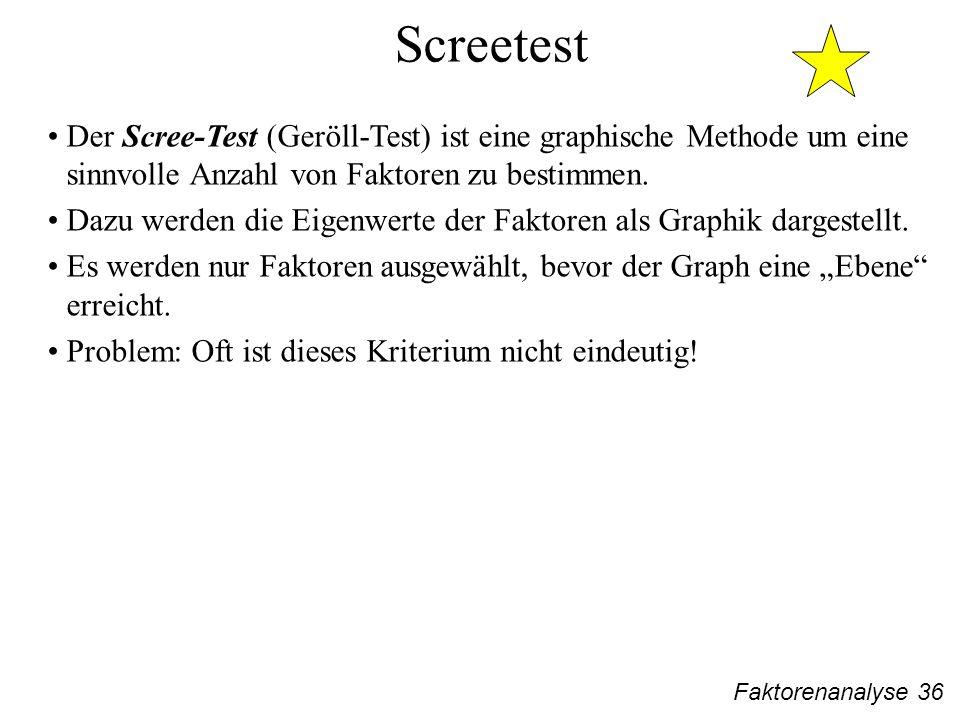 Faktorenanalyse 36 Screetest Der Scree-Test (Geröll-Test) ist eine graphische Methode um eine sinnvolle Anzahl von Faktoren zu bestimmen.