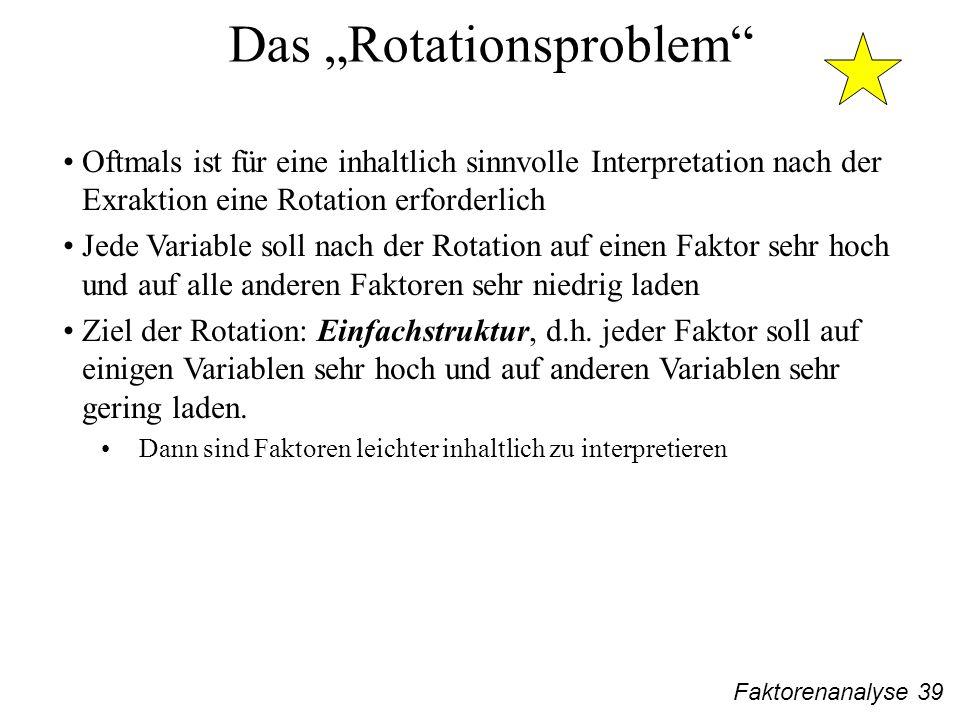 Faktorenanalyse 39 Das Rotationsproblem Oftmals ist für eine inhaltlich sinnvolle Interpretation nach der Exraktion eine Rotation erforderlich Jede Variable soll nach der Rotation auf einen Faktor sehr hoch und auf alle anderen Faktoren sehr niedrig laden Ziel der Rotation: Einfachstruktur, d.h.
