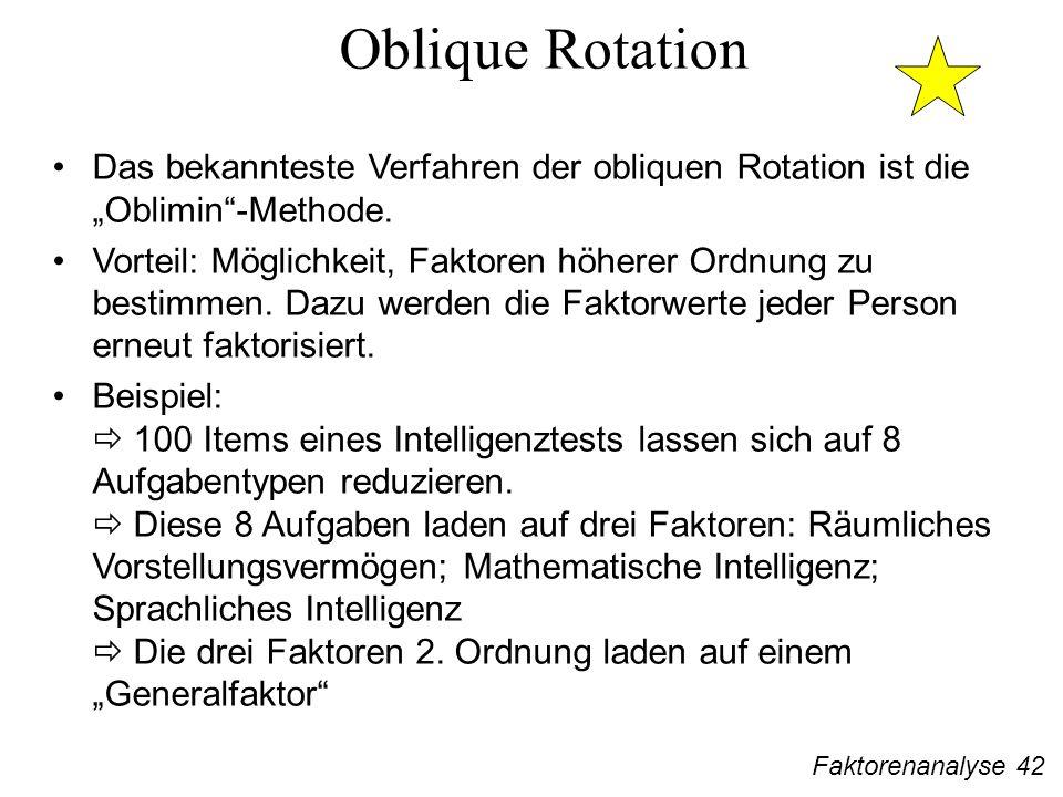 Faktorenanalyse 42 Oblique Rotation Das bekannteste Verfahren der obliquen Rotation ist die Oblimin-Methode.