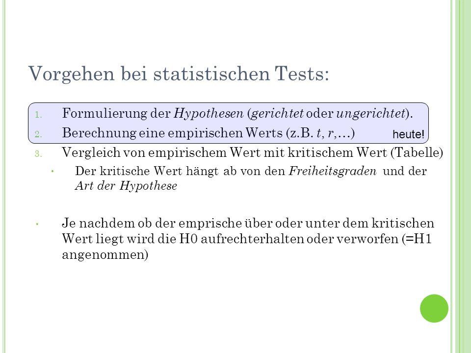 Termin 7Statistik Tutorat WS 2010/11 Vorgehen bei statistischen Tests: 1. Formulierung der Hypothesen ( gerichtet oder ungerichtet ). 2. Berechnung ei