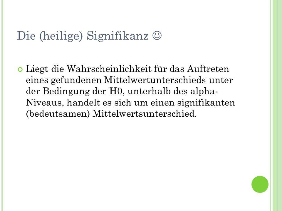 Termin 7Statistik Tutorat WS 2010/11 Die (heilige) Signifikanz Liegt die Wahrscheinlichkeit für das Auftreten eines gefundenen Mittelwertunterschieds