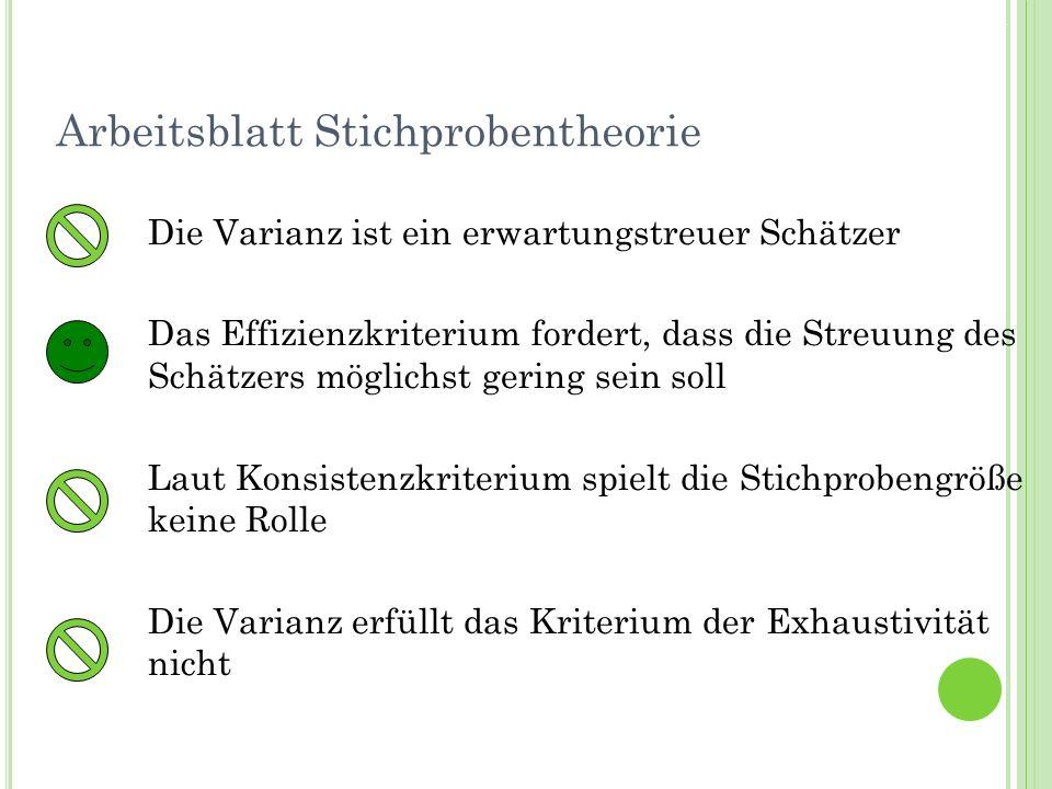 Termin 7Statistik Tutorat WS 2010/11 Arbeitsblatt Stichprobentheorie Die Varianz ist ein erwartungstreuer Schätzer Das Effizienzkriterium fordert, das