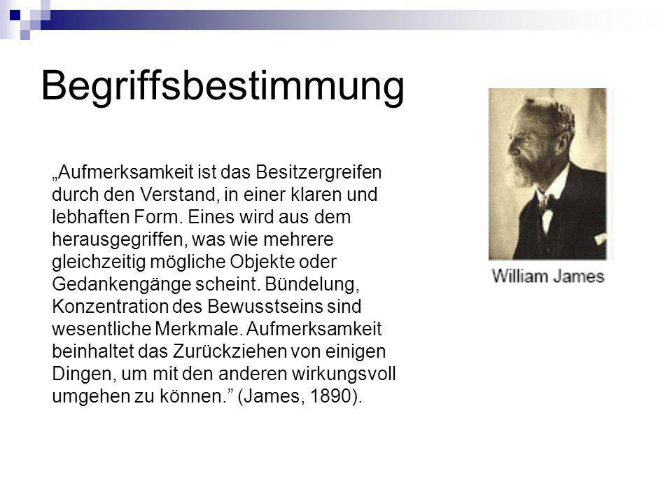 Veranschaulichung der Aufmerksamkeitsbegrenzung (nach Treisman und Greffen, 1967) Theorie von Deutsch und Deutsch: Gesamte Information wird ungedämpft bzw.