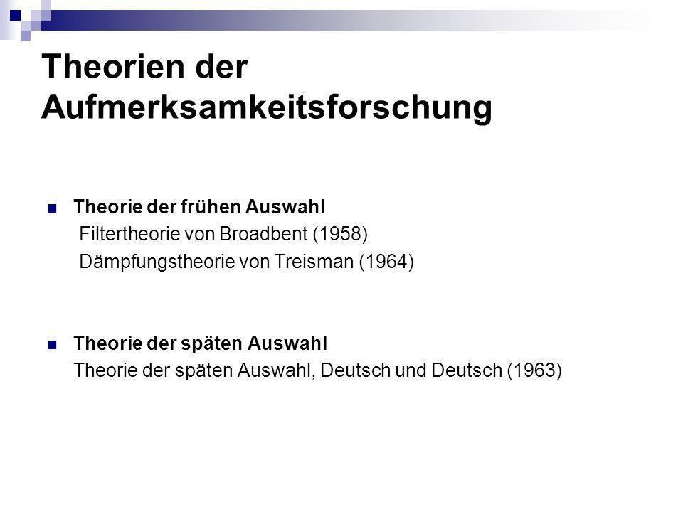 Theorien der Aufmerksamkeitsforschung Theorie der frühen Auswahl Filtertheorie von Broadbent (1958) Dämpfungstheorie von Treisman (1964) Theorie der s