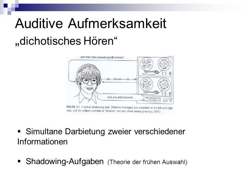 Auditive Aufmerksamkeit dichotisches Hören Simultane Darbietung zweier verschiedener Informationen Shadowing-Aufgaben (Theorie der frühen Auswahl)