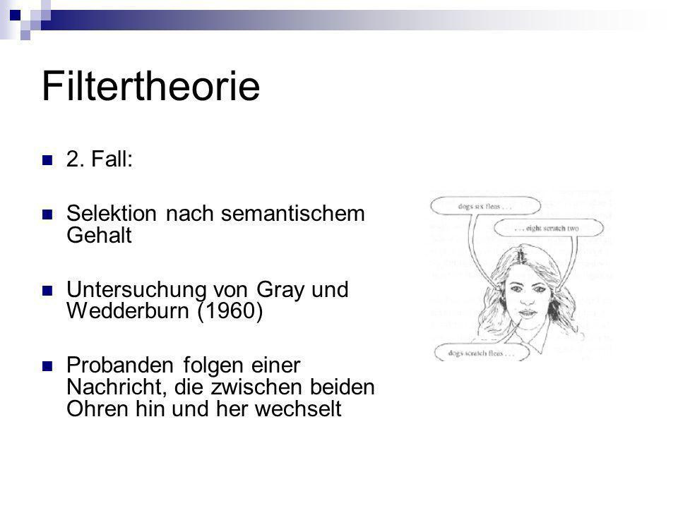 Filtertheorie Untersuchung von Treisman (1960) Instruktion: ein Ohr beschatten Mitteilung zuerst inhaltlich sinnvoll, dann zufällige Wortfolge, Fortsetzung der Nachricht auf anderem Ohr Auswahl nach semantischen und physikalischen Kriterien