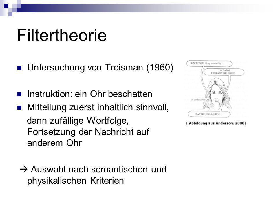 Filtertheorie Untersuchung von Treisman (1960) Instruktion: ein Ohr beschatten Mitteilung zuerst inhaltlich sinnvoll, dann zufällige Wortfolge, Fortse
