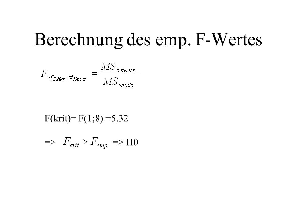 Berechnung des emp. F-Wertes F(krit)= F(1;8) =5.32 => => H0