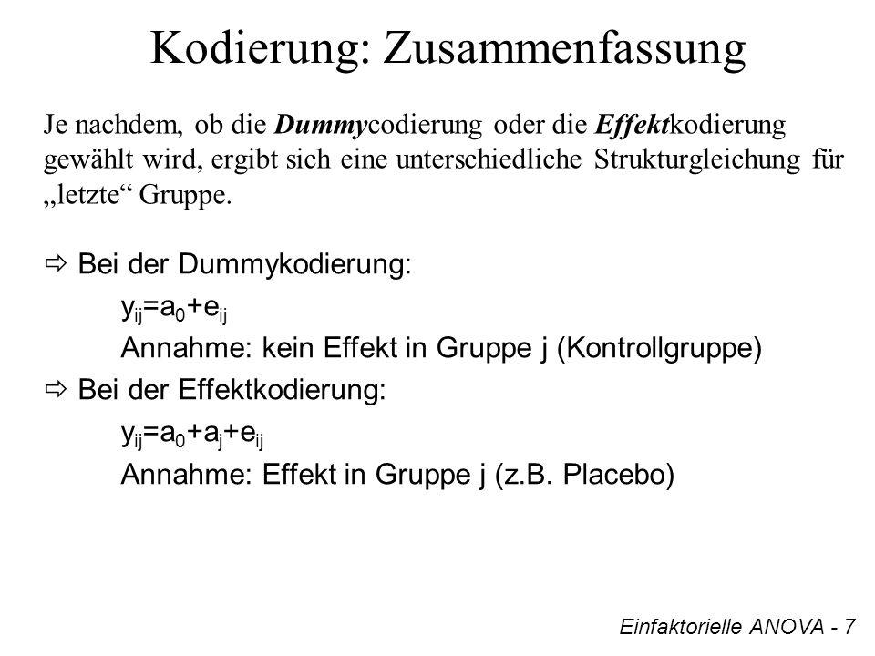 Kodierung: Zusammenfassung Je nachdem, ob die Dummycodierung oder die Effektkodierung gewählt wird, ergibt sich eine unterschiedliche Strukturgleichun