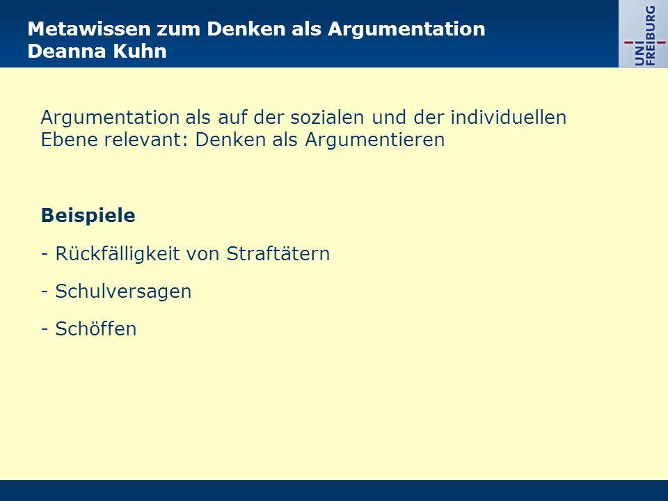 Metawissen zum Denken als Argumentation Deanna Kuhn Argumentation als auf der sozialen und der individuellen Ebene relevant: Denken als Argumentieren