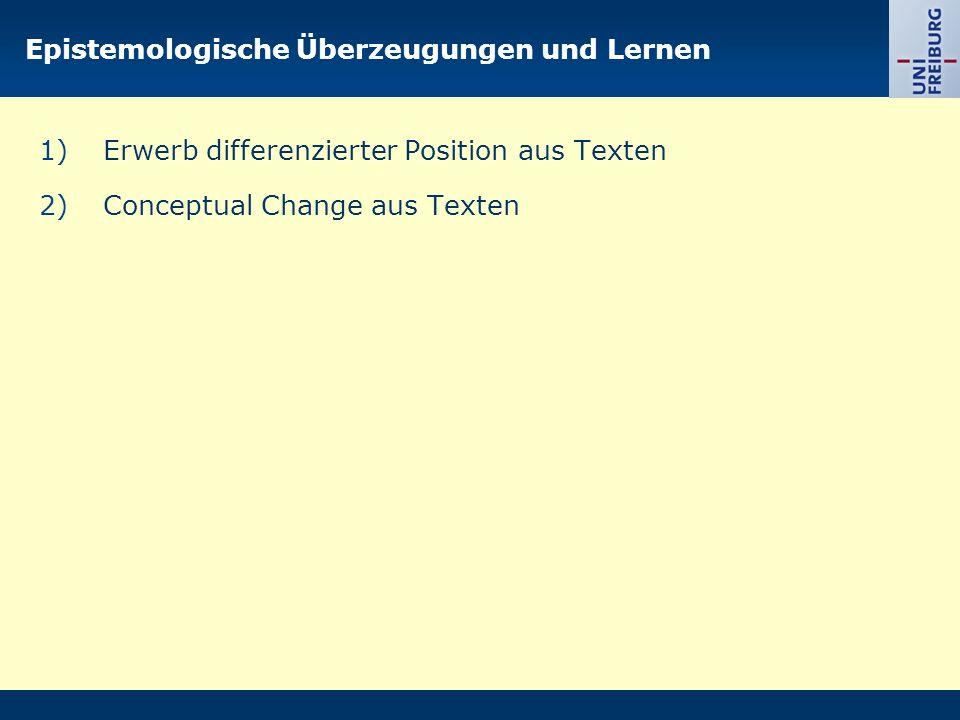 Epistemologische Überzeugungen und Lernen 1)Erwerb differenzierter Position aus Texten 2)Conceptual Change aus Texten