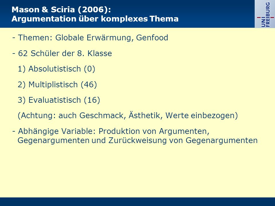 Mason & Sciria (2006): Argumentation über komplexes Thema - Themen: Globale Erwärmung, Genfood - 62 Schüler der 8. Klasse 1) Absolutistisch (0) 2) Mul