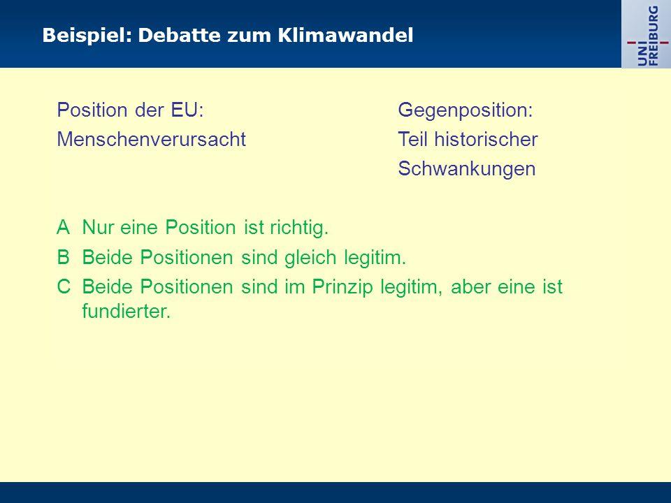 Beispiel: Debatte zum Klimawandel Position der EU: Gegenposition: Menschenverursacht Teil historischer Schwankungen A Nur eine Position ist richtig. B