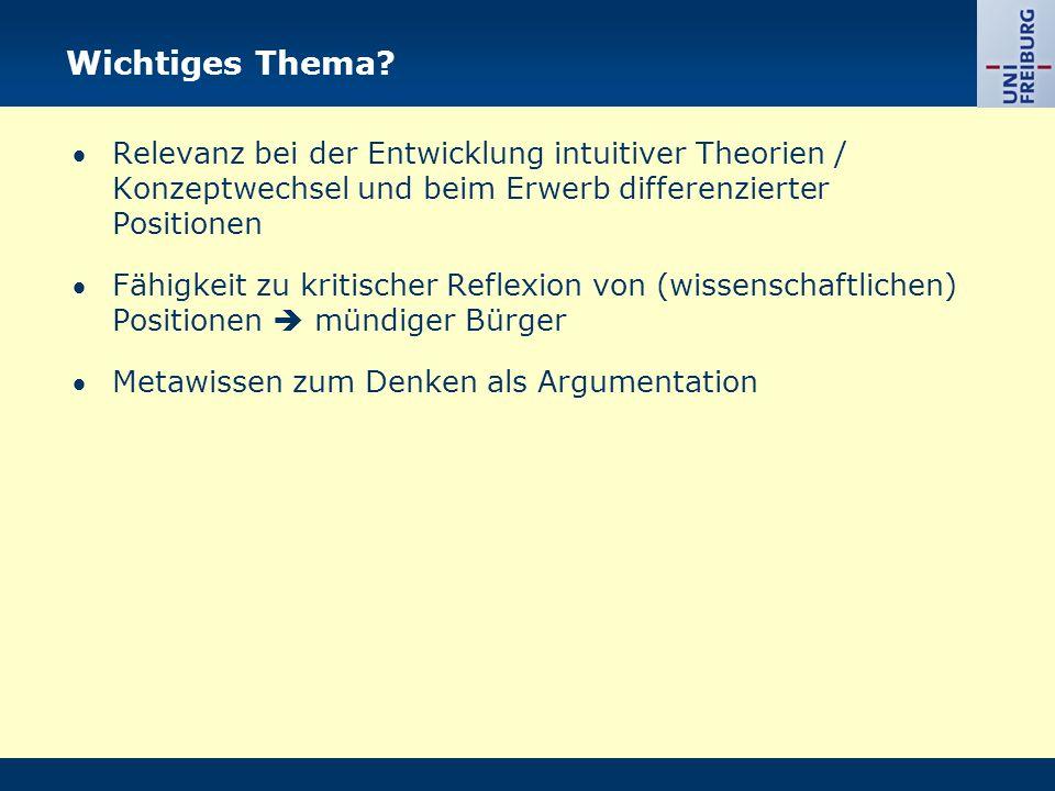 Wichtiges Thema? Relevanz bei der Entwicklung intuitiver Theorien / Konzeptwechsel und beim Erwerb differenzierter Positionen Fähigkeit zu kritischer