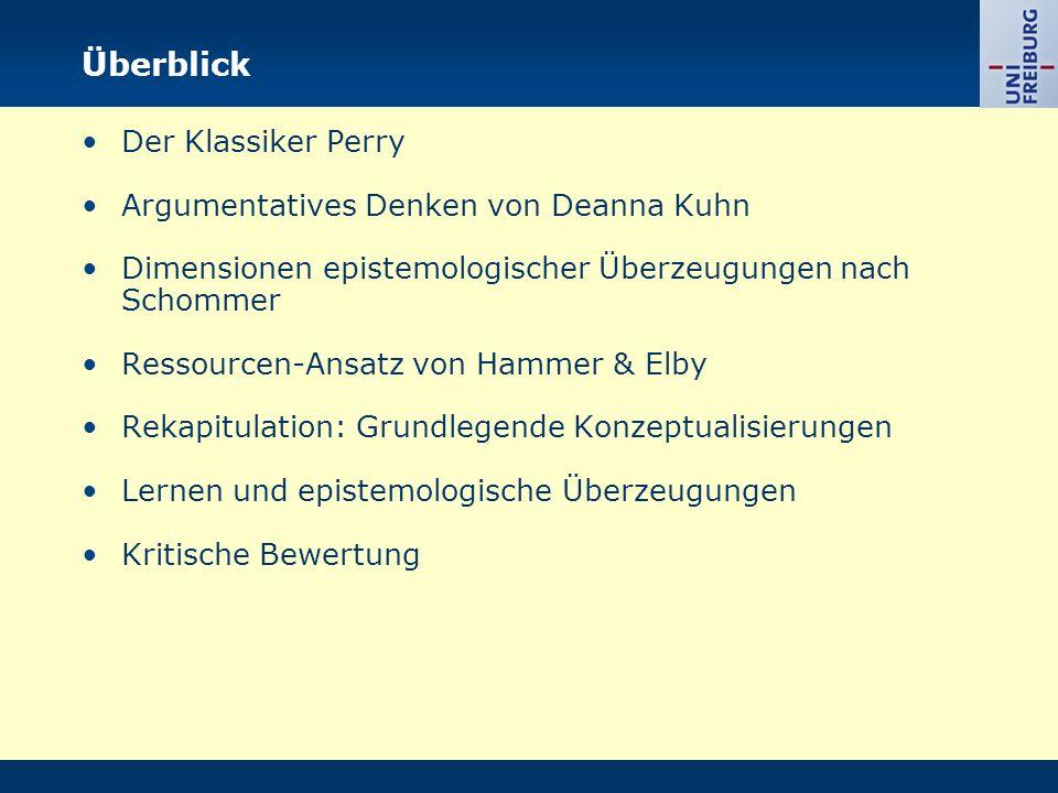 Der Klassiker: Perry (1970) -Entwicklung von epistemologischen Überzeugungen während der College-Zeit.