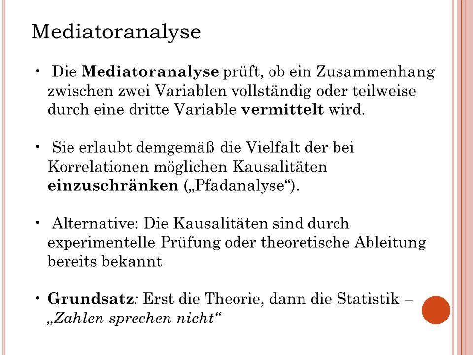 Mediatoranalyse Die Mediatoranalyse prüft, ob ein Zusammenhang zwischen zwei Variablen vollständig oder teilweise durch eine dritte Variable vermittel